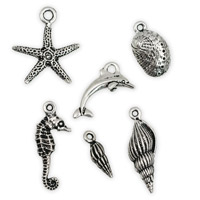Antique Silver Plated Pewter Sea Life Charms (Set of 6)