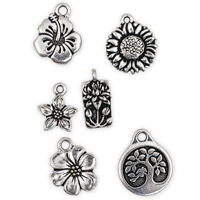 Antique Silver Plated Pewter Flower Charms (Set of 6)