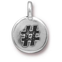 11mm Antique Silver Plated Hashtag Charm (1-Pc)