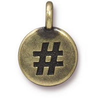11mm Brass Oxide Hashtag Charm (1-Pc)