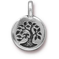 11mm Antique Silver Bird in Tree of Life Charm (1-Pc)
