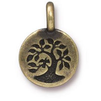 11mm Brass Oxide Bird in Tree of Life Charm (1-Pc)