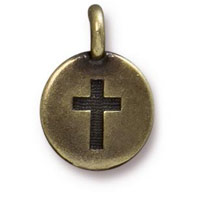 11mm Brass Oxide Cross Charm (1-Pc)