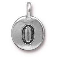 11mm Antique Silver Plated Number 0 Charm (1-Pc)