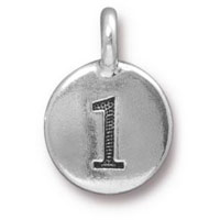 11mm Antique Silver Plated Number 1 Charm (1-Pc)
