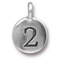 11mm Antique Silver Plated Number 2 Charm (1-Pc)