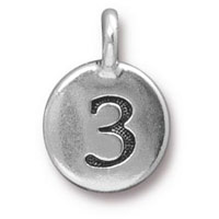11mm Antique Silver Plated Number 3 Charm (1-Pc)