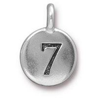 11mm Antique Silver Plated Number 7 Charm (1-Pc)