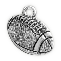 17.5mm Antique Silver Plated Pewter Football Charm (1-Pc)