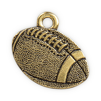 17.5mm Antique Gold Plated Pewter Football Charm (1-Pc)