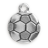 19mm Antique Silver Plated Pewter Soccer Ball Charm (1-Pc)