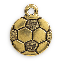 19mm Antique Gold Plated Pewter Soccer Ball Charm (1-Pc)