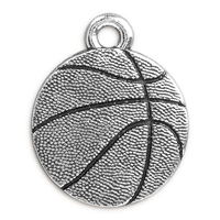19mm Antique Silver Plated Pewter Basketball Charm (1-Pc)