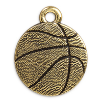 19mm Antique Gold Plated Pewter Basketball Charm (1-Pc)