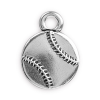 17mm Antique Silver Plated Pewter Baseball Charm (1-Pc)