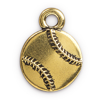 17mm Antique Gold Plated Pewter Baseball Charm (1-Pc)