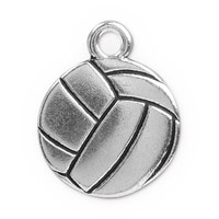 19mm Antique Silver Plated Pewter Volleyball Charm (1-Pc)