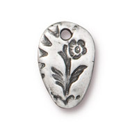 Flora Charm 14mm Pewter Antique  (1-Pc)