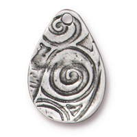 19mm Antique Pewter Flora Charm (1-Pc)