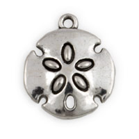 20mm Antique Silver Plated Pewter Sand Dollar Charm (1-Pc)