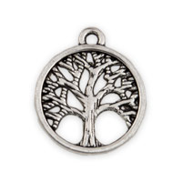 15mm Antique Silver Plated Pewter Tree Of Life Charm (1-Pc)