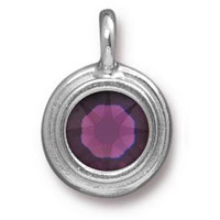 11mm Amethyst Rhodium Plated Pewter Bezel Drop (1-Pc)
