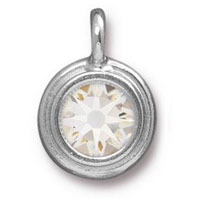 11mm Crystal Rhodium Plated Pewter Bezel Drop (1-Pc)