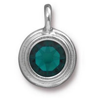 11mm Emerald Rhodium Plated Pewter Bezel Drop (1-Pc)