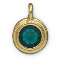 11mm Emerald Gold Plated Pewter Bezel Drop (1-Pc)
