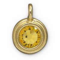 11mm Topaz Gold Plated Pewter Bezel Drop (1-Pc)