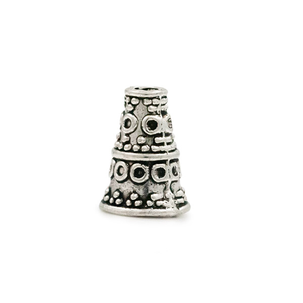 Cone shaped bali style pewter end cap for jewelry making
