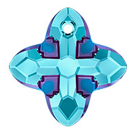 Swarovski 6868 Cross Tribe Pendant 24mm Aquamarine Metallic Blue (1-Pc)