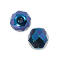 Czech Fire Polished Rounds 6mm Blue Iris (10-Pcs)