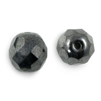Czech Fire Polished Rounds 8mm Hematite (10-Pcs)