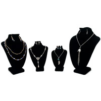 Black Velvet Necklace and Earing Combo Display Bust Kit #19