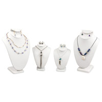 White Leatherette Necklace and Earring Combo Display Bust Kit #19