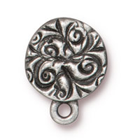 Jardin Post Earring 8mm Antique Pewter (1-Pc)