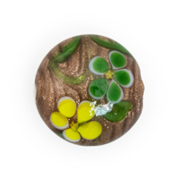 Foil Flower Lentil Glass Bead 20mm Yellow/Green (1-Pc)