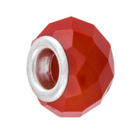 14x8mm Orange Faceted Glass Large Hole Round Bead (1-Pc)