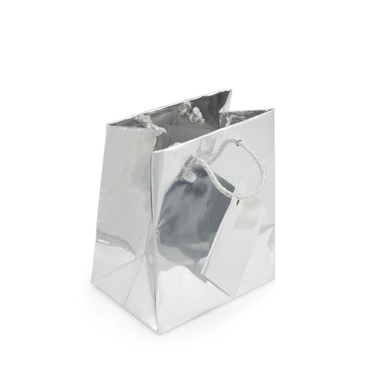 Metallic Silver 3x3 Tote Gift Bag Wholesale White