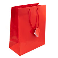 Glossy Red 7x9 Tote Gift Bag