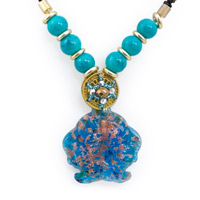 Murano Style Glass Pendant Necklace Double Fish 24