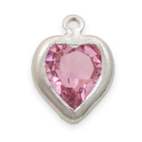 Swarovski Heart Channel 8mm Light Rose Rhodium Plated (1-Pc)