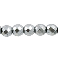 Hematite Faceted Rounds Metallic Silver 4mm (10-Pcs)