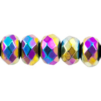 Hematite Faceted Rondelles Metallic Iris 5-5.5mm (10-Pcs)