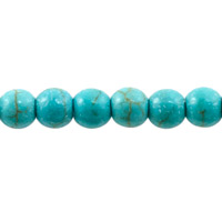 6mm Howlite Dyed Turquoise Round Bead (16