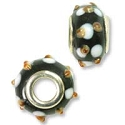 Large Hole Lampwork Glass Bead 10x14mm Black with Tan and White Dots (1-Pc)