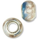 Large Hole Lampwork Glass Bead 9x13mm White and Blue with Tan Swirls (1-Pc)
