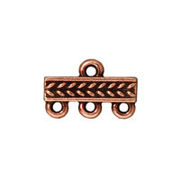 15x4mm Antique Copper Pewter 3-Strand Braided Bar Link (1-Pc)