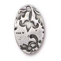 18mm Antique Pewter Oval Flora Link (1-Pc)